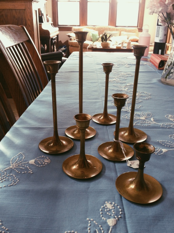 high plains thrifter // brass candle holders