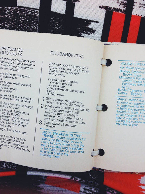 high plains thrifter // vintage bisquick rhubarbette recipe